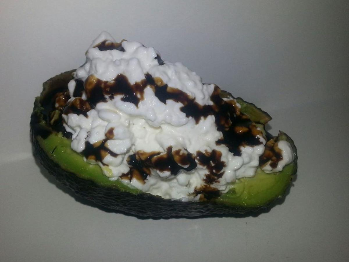 Avocado with Cottage Cheese and Balsamic Glaze Healthy Recipe