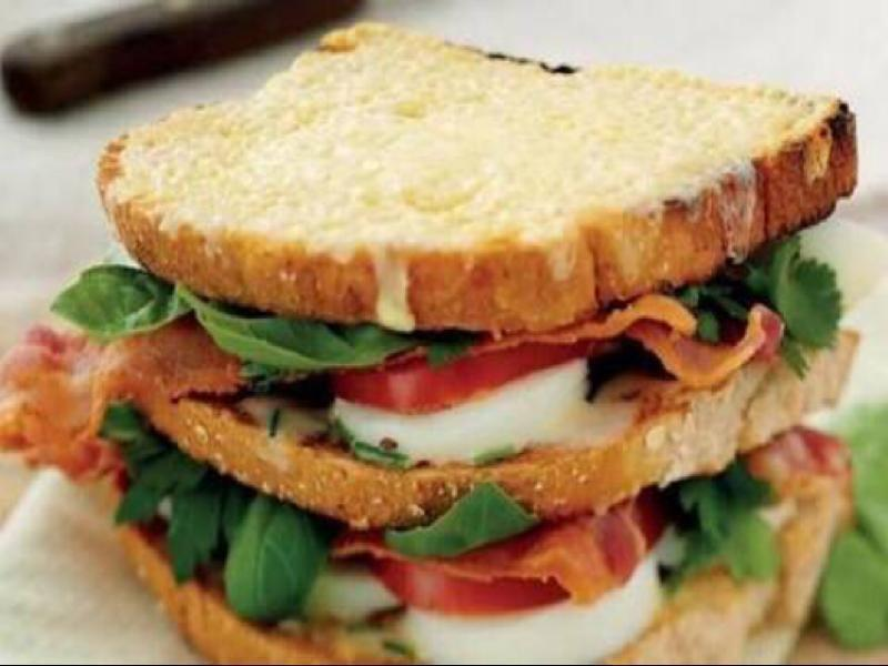 Bacon, Egg, and Tomato Club Sandwiches Healthy Recipe