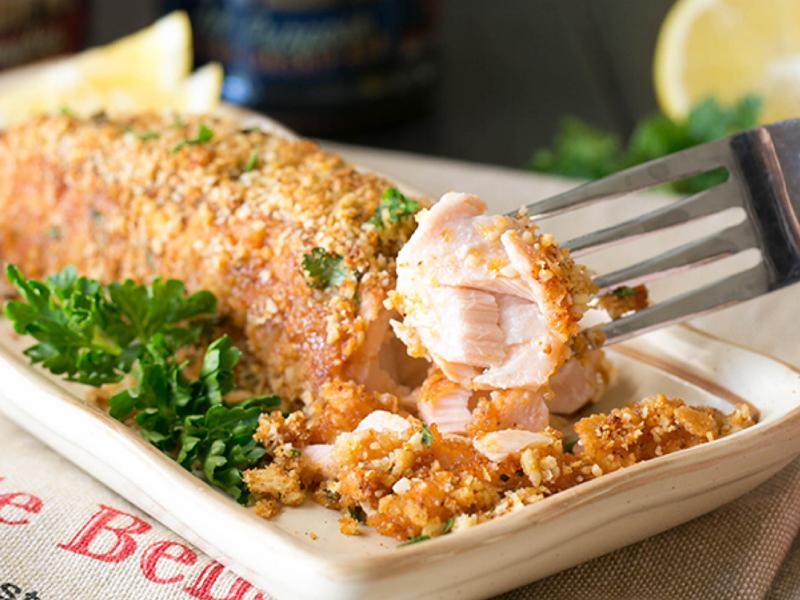 Healthy Recipes Baked Salmon With Ritz Cracker Topping Recipe