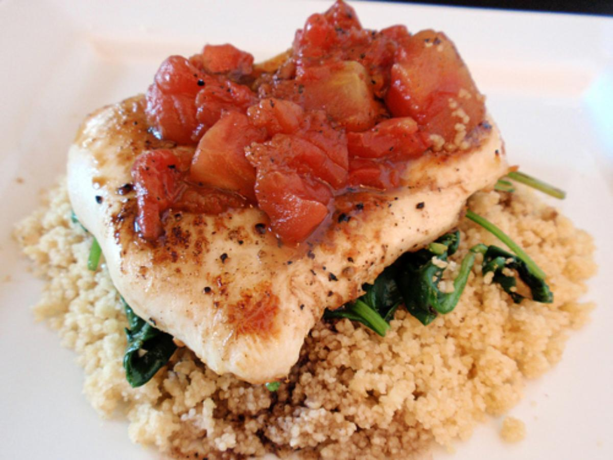 Balsamic Chicken with Baby Spinach and Barley Healthy Recipe