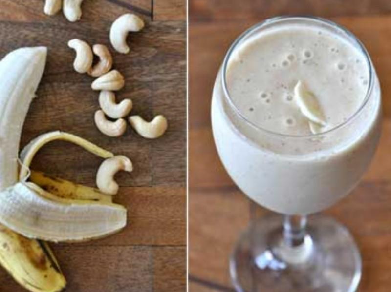 Banana and Cashew Cream Smoothie Healthy Recipe