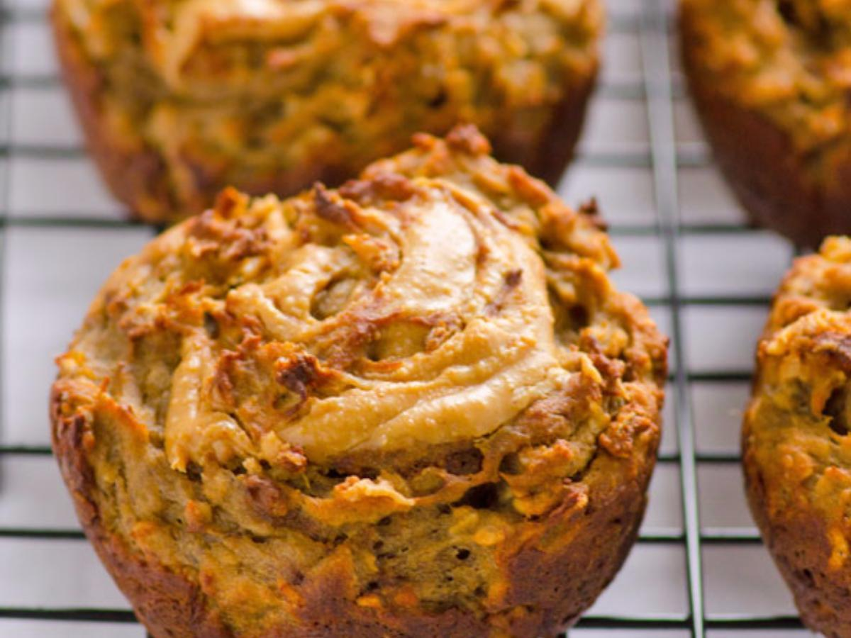 Banana and Peanut Butter Swirl Muffins Healthy Recipe
