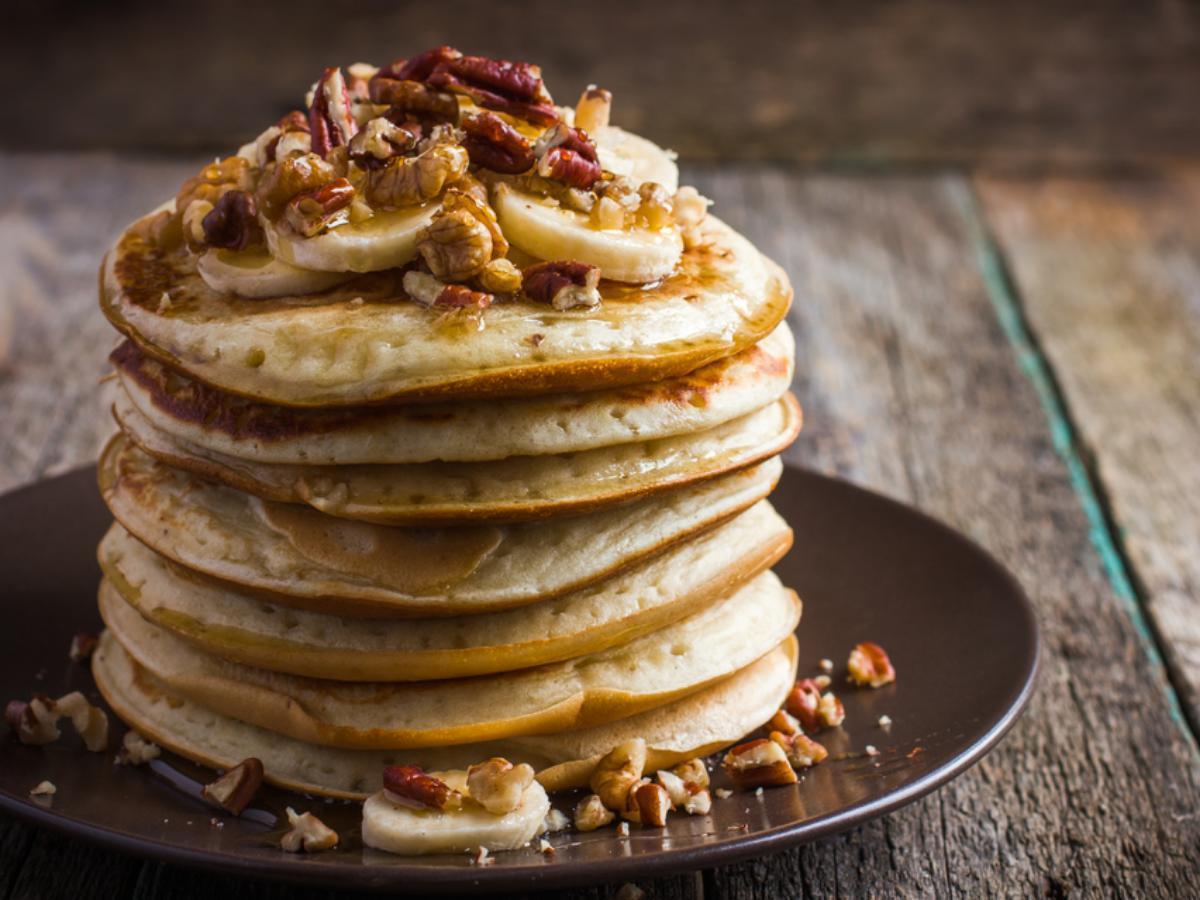 Banana Pecan Cornmeal Pancakes Healthy Recipe