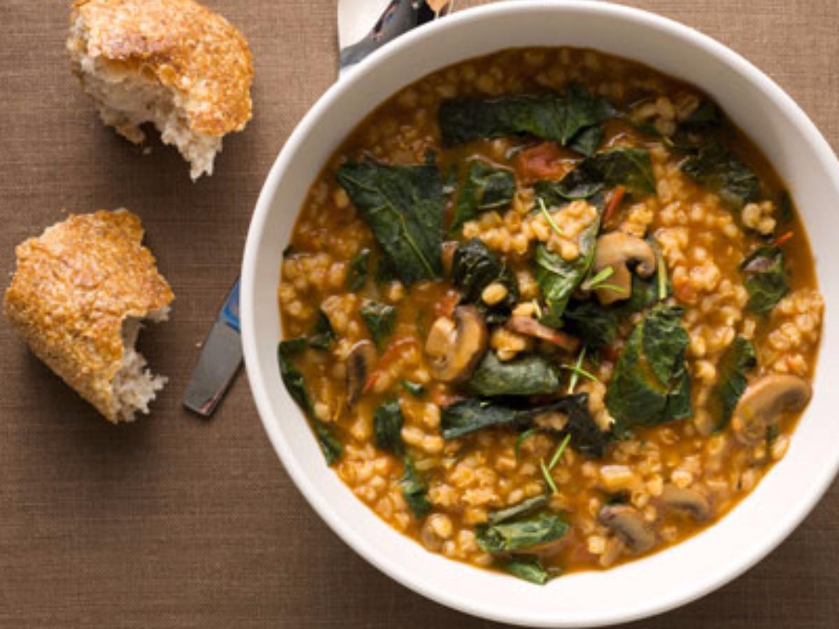 Barley Stew with Leeks, Mushrooms, and Greens Healthy Recipe