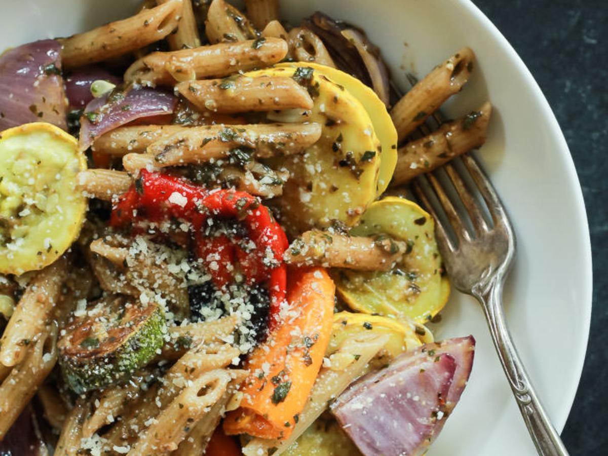 Basil Pesto Pasta with Roasted Veggies Healthy Recipe