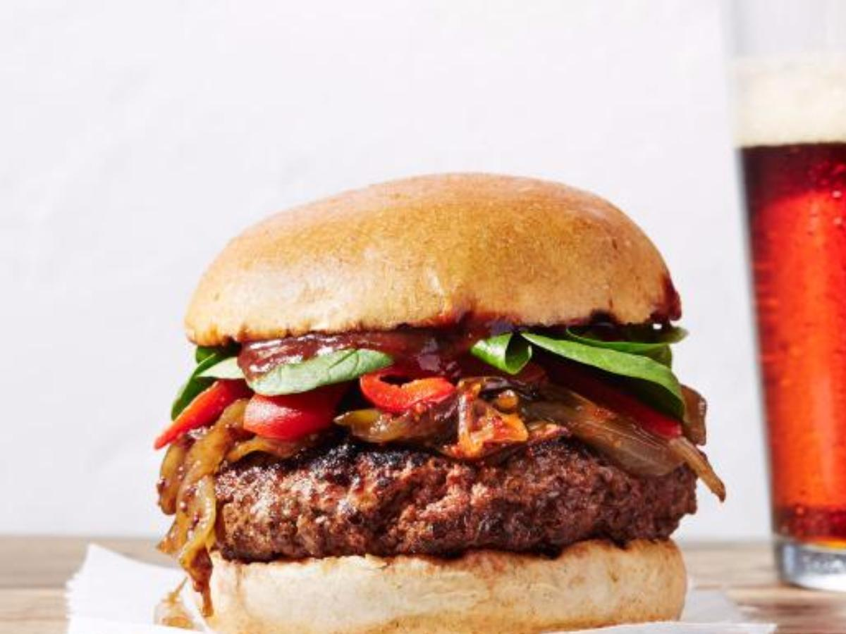 Bison Beer Burgers with Beer-Caramelized Onions Healthy Recipe