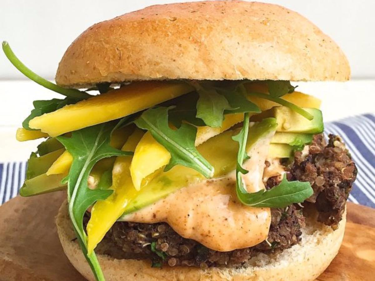 Black Bean-Quinoa Burgers with Spicy Mayo, Avocado, and Mango Healthy Recipe