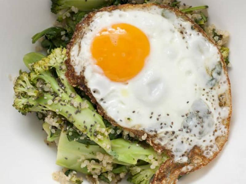 Broccolli Hash with Fried Egg Healthy Recipe