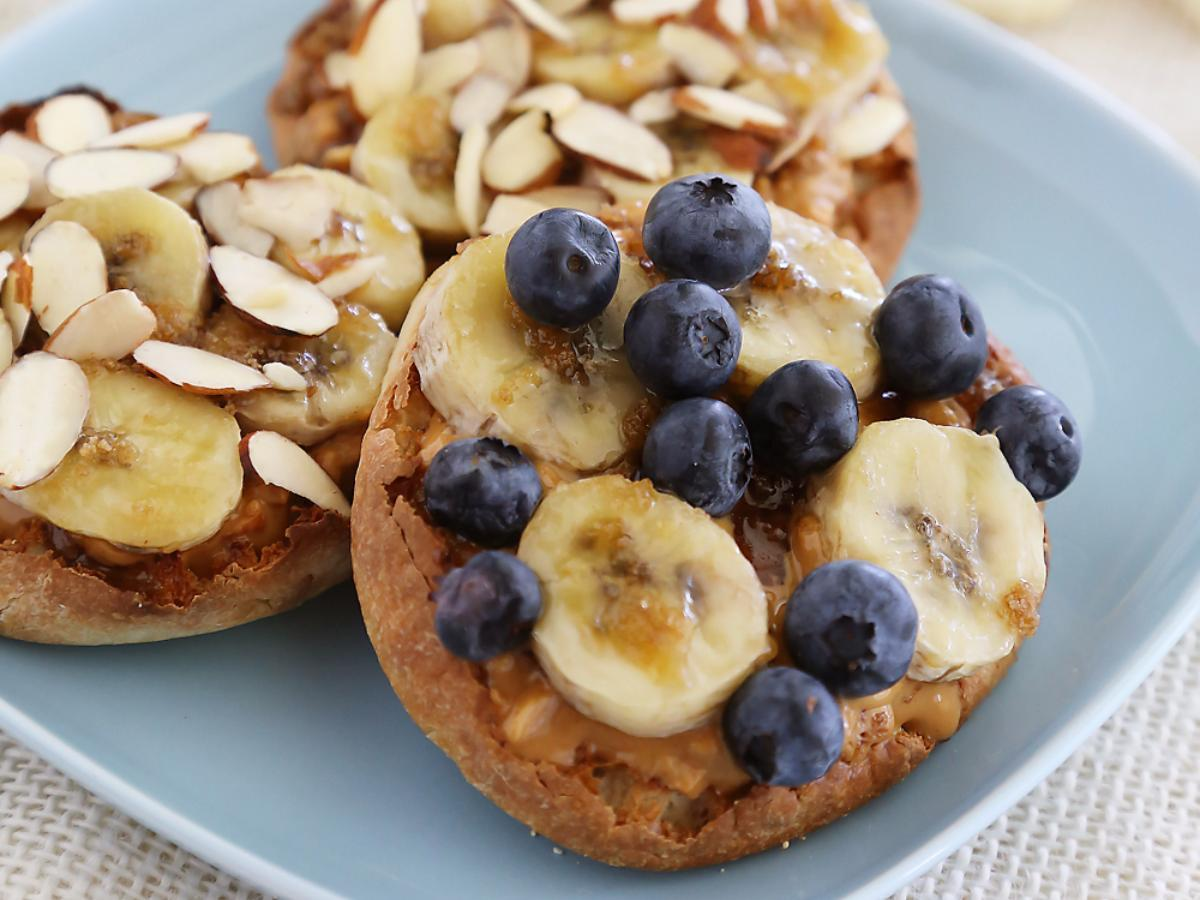 Bruleed Banana and Peanut Butter English Muffins Healthy Recipe