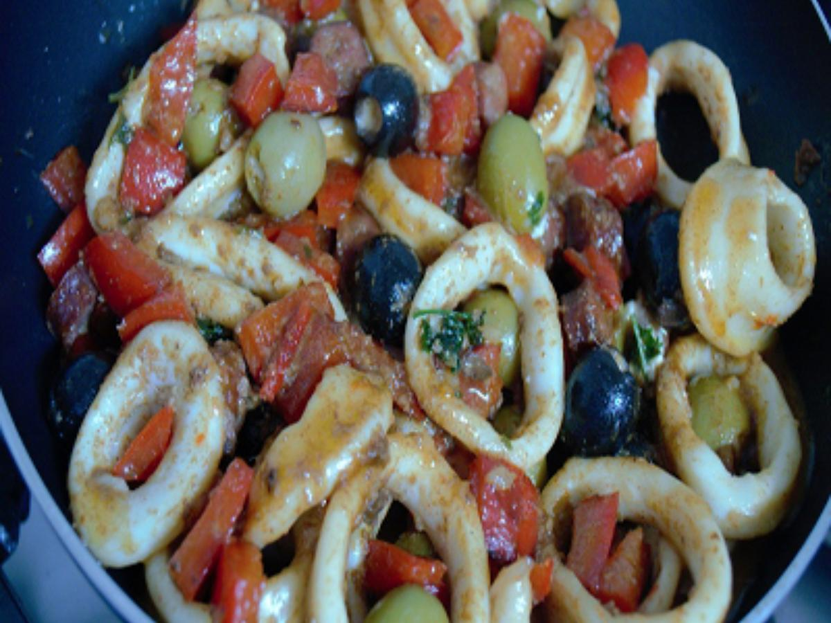 Calamari-Olive Salad Healthy Recipe