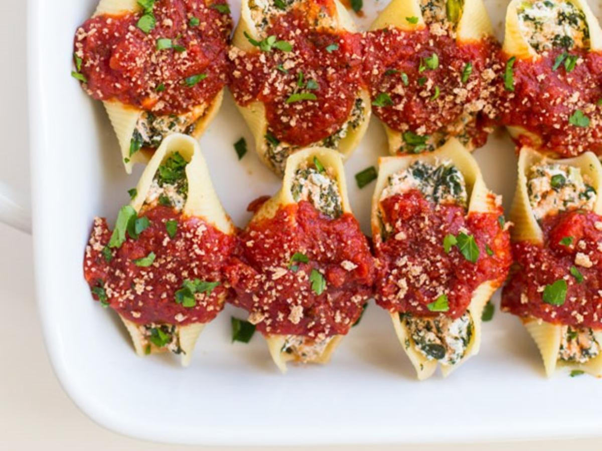 Cashew 'Ricotta' and Spinach Stuffed Shells (4 Servings) Healthy Recipe