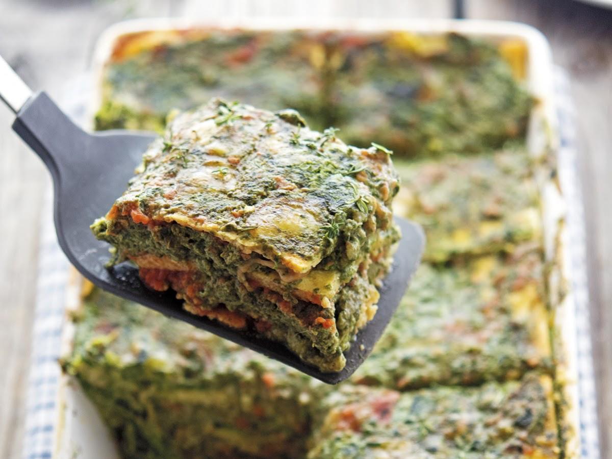 Cauliflower Noodle Spinach Lasagna Healthy Recipe