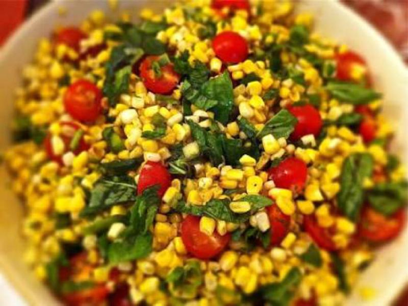 Charred Corn Salad with Basil and Tomatoes Healthy Recipe