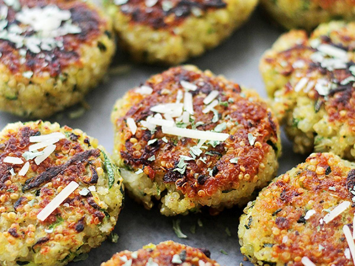 Cheesy Garlic Quinoa Zucchini Fritters Healthy Recipe
