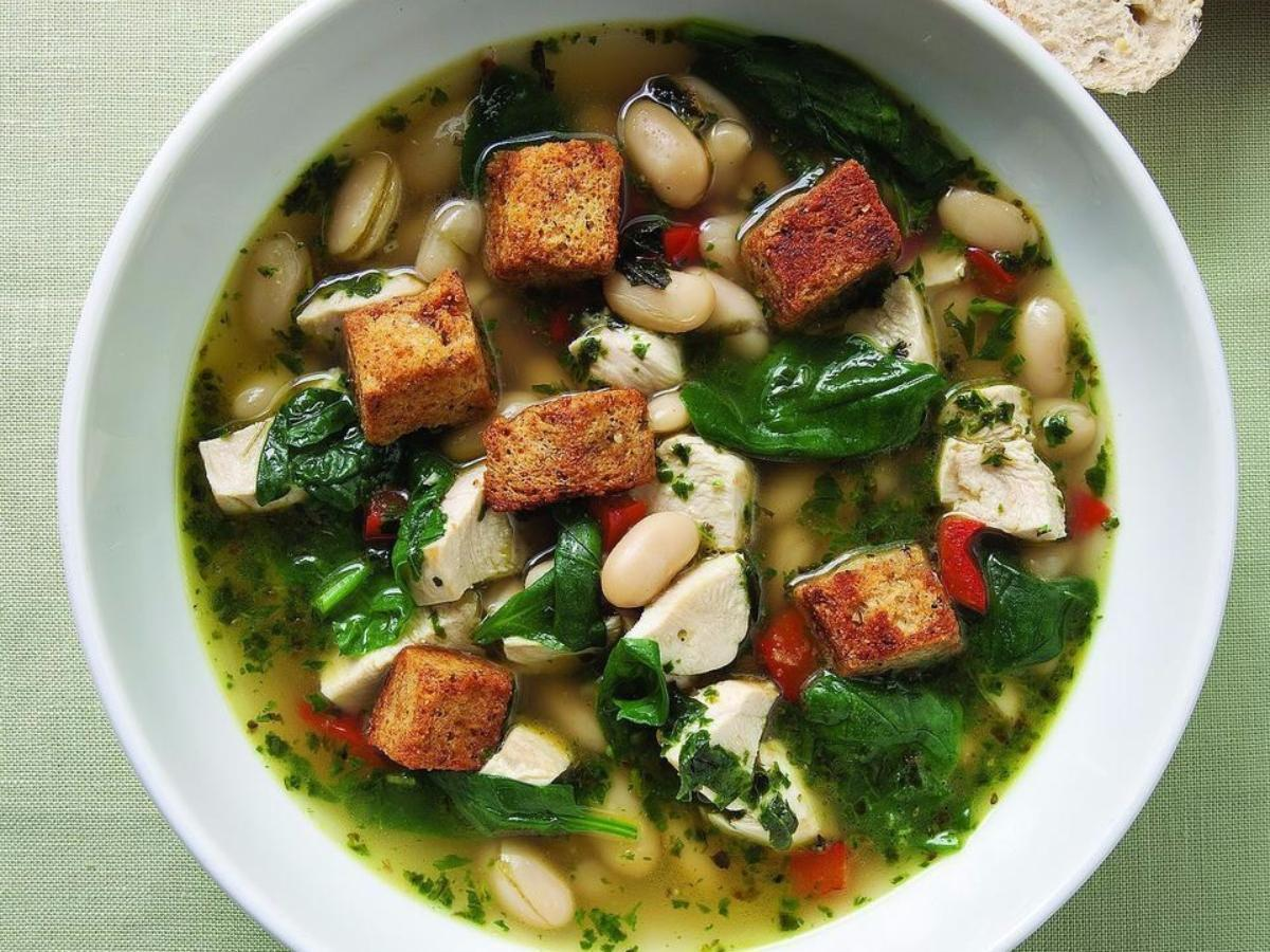 Chicken and Spinach Soup with Fresh Pesto Healthy Recipe