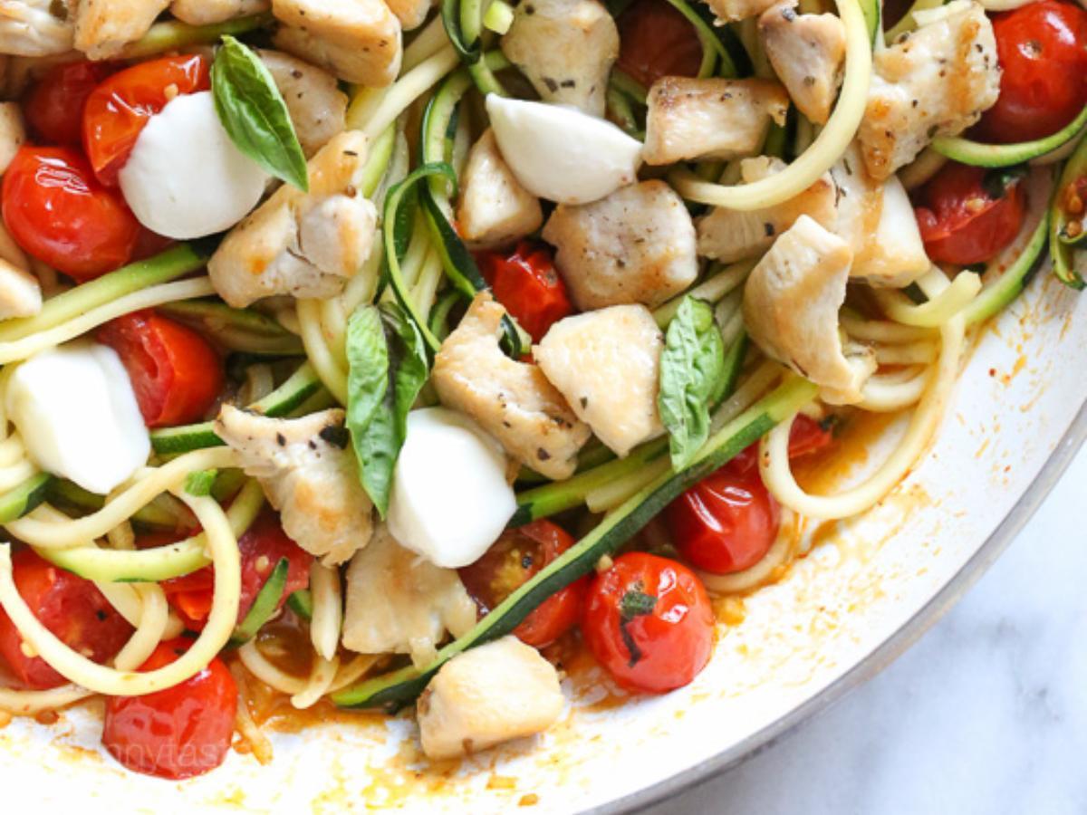 Chicken and Zucchini Noodle Caprese Healthy Recipe