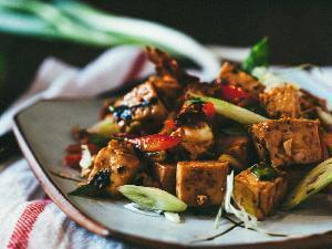 Chili Tofu Salad with Kimchi Chips and Seaweed Healthy Recipe