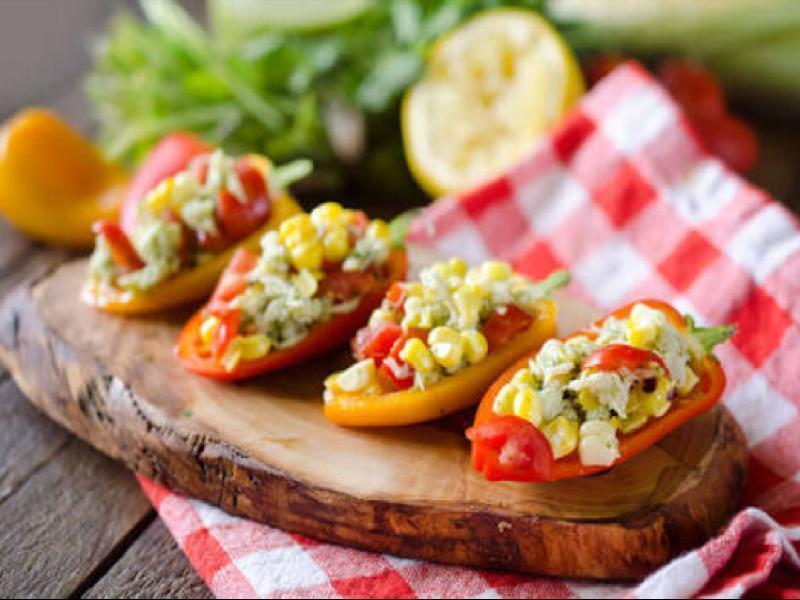 Cilantro Crab & Corn Stuffed Peppers Healthy Recipe