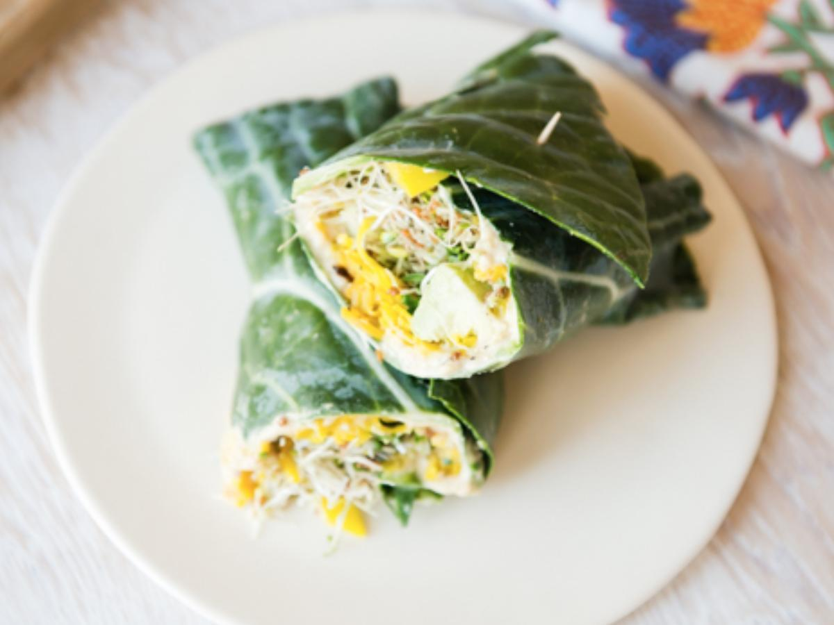 Collard Hummus Wraps withn Spiralized Golden Beets and Sprouts Healthy Recipe