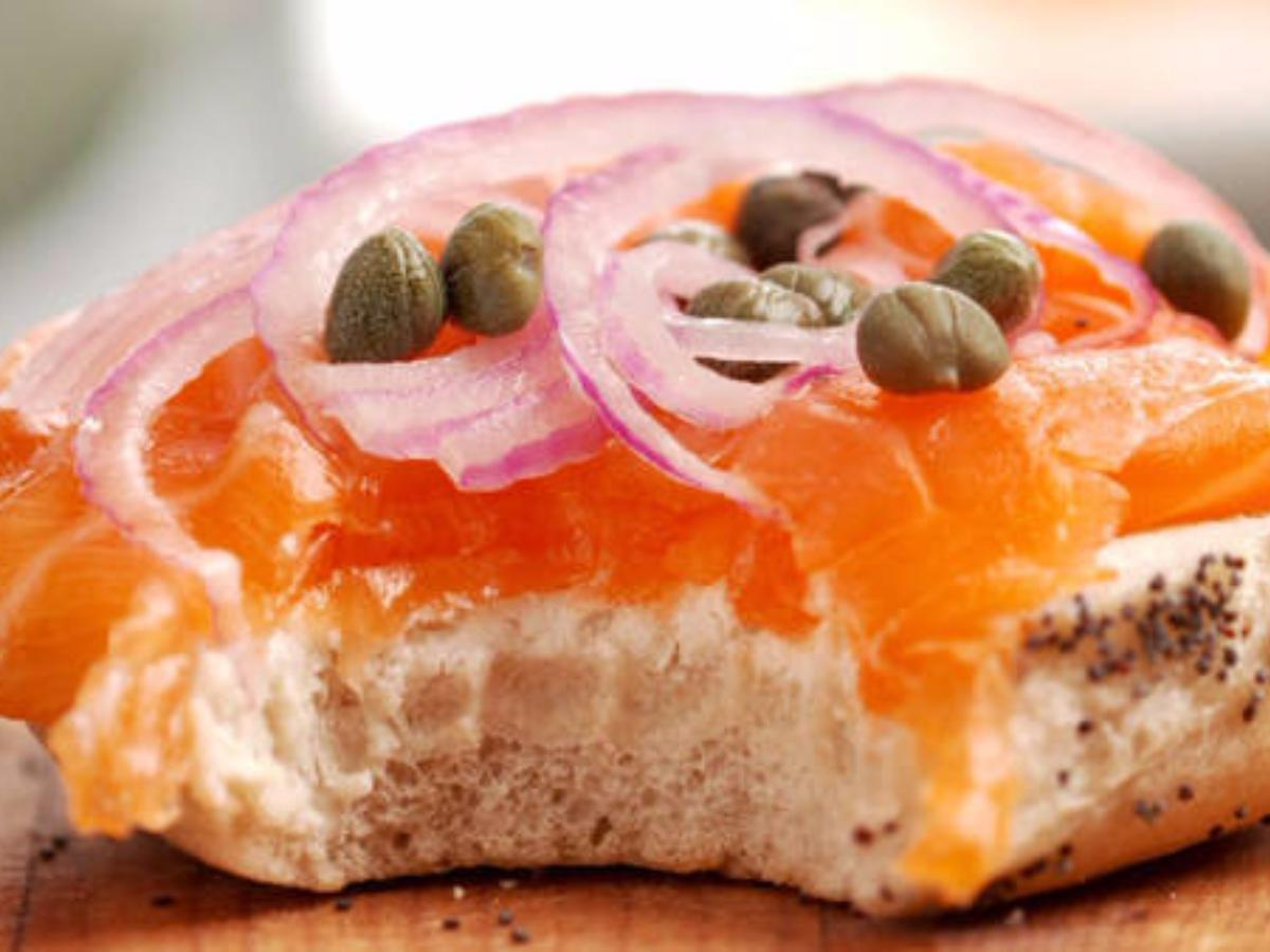 Cream Cheese, Lox, and Capers English Muffin Healthy Recipe