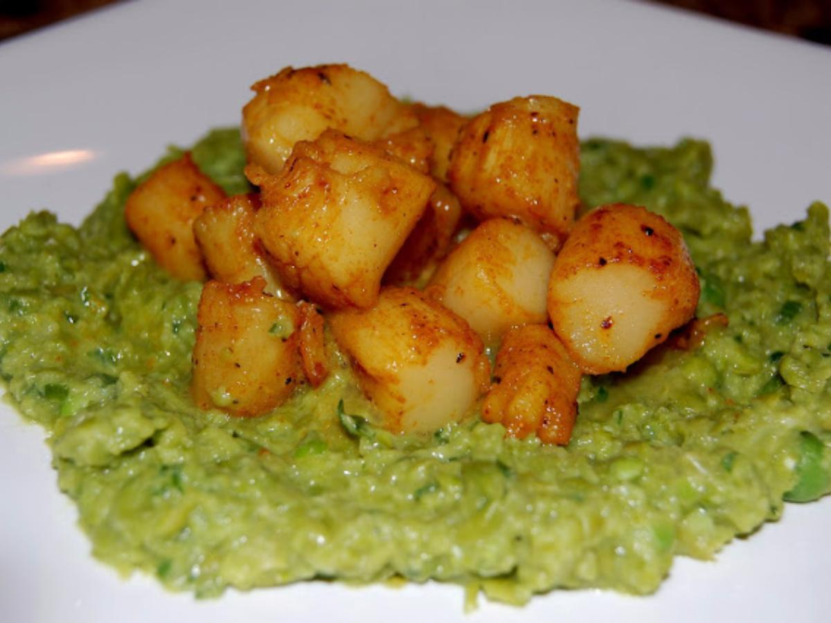 Curry-Dusted Scallops with Pea Puree Healthy Recipe