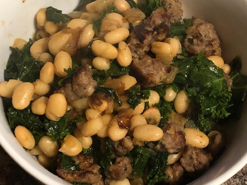 Easy Microwave Sausage, Kale, and White Beans Healthy Recipe