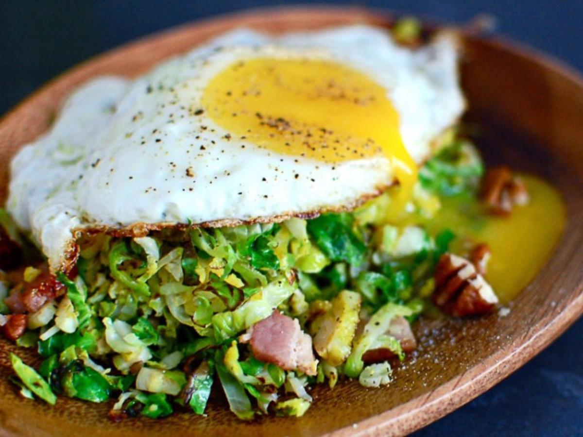 Egg with Bacon and Brussel Sprout Hash Healthy Recipe