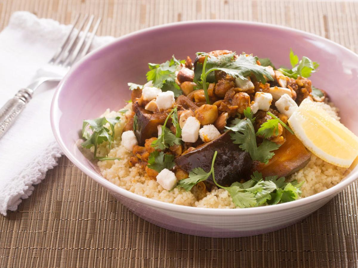 Eggplant Tagine with Couscous, Chickpeas and Feta Cheese Healthy Recipe