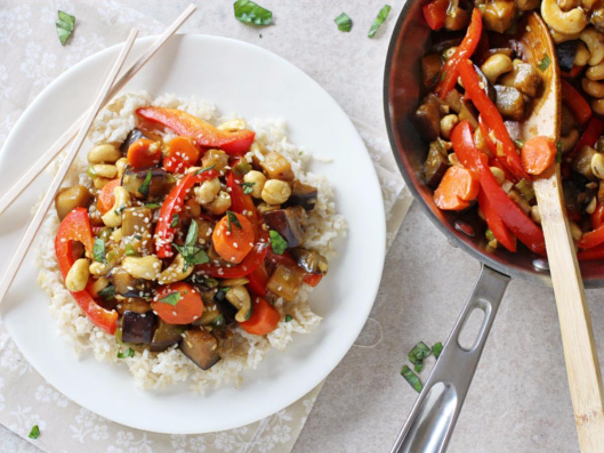 Eggplant Veggie Stir-Fry Healthy Recipe