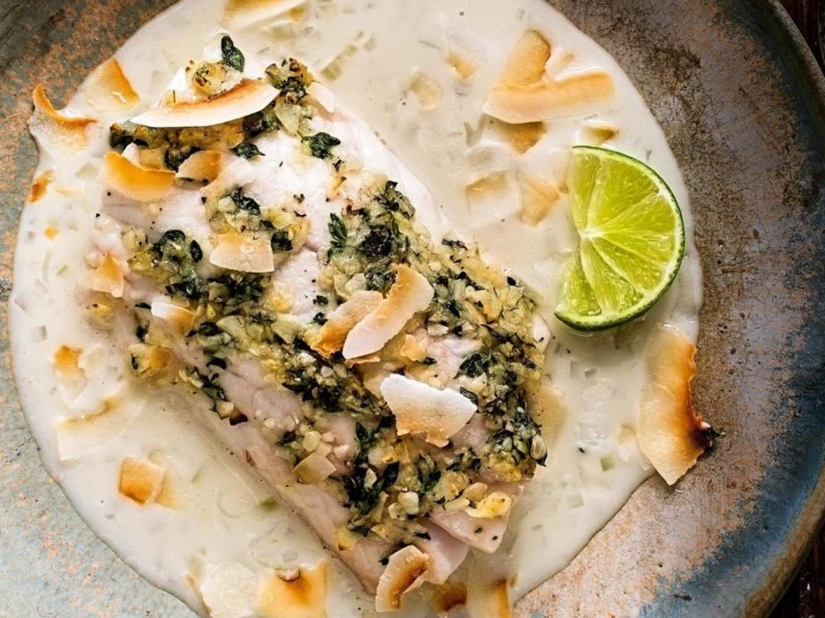 Fish with Coconut-Shallot Sauce Healthy Recipe
