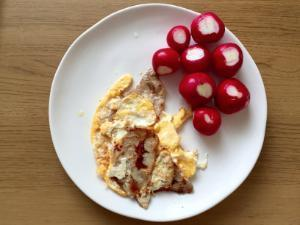Fried Eggs with Bacon and Radish Healthy Recipe
