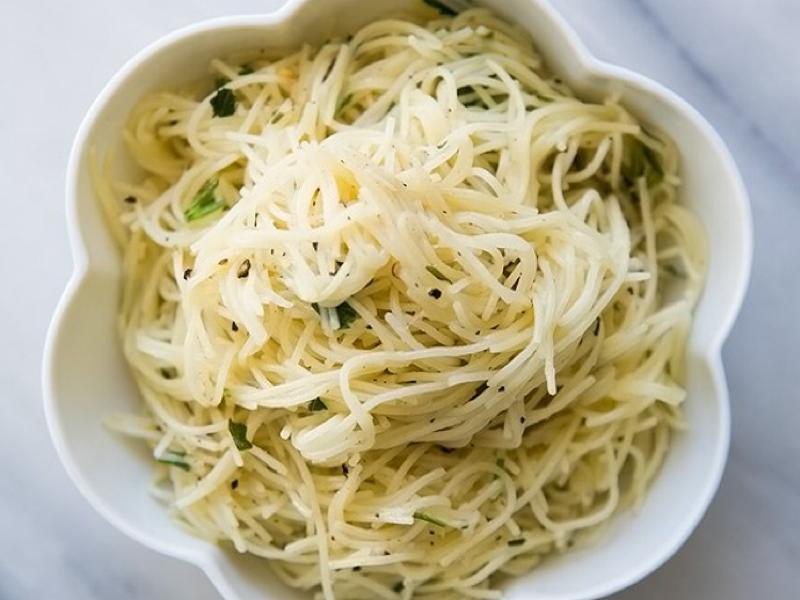 Garlic Angel Hair Pasta with Roasted Asparagus and Onions Healthy Recipe