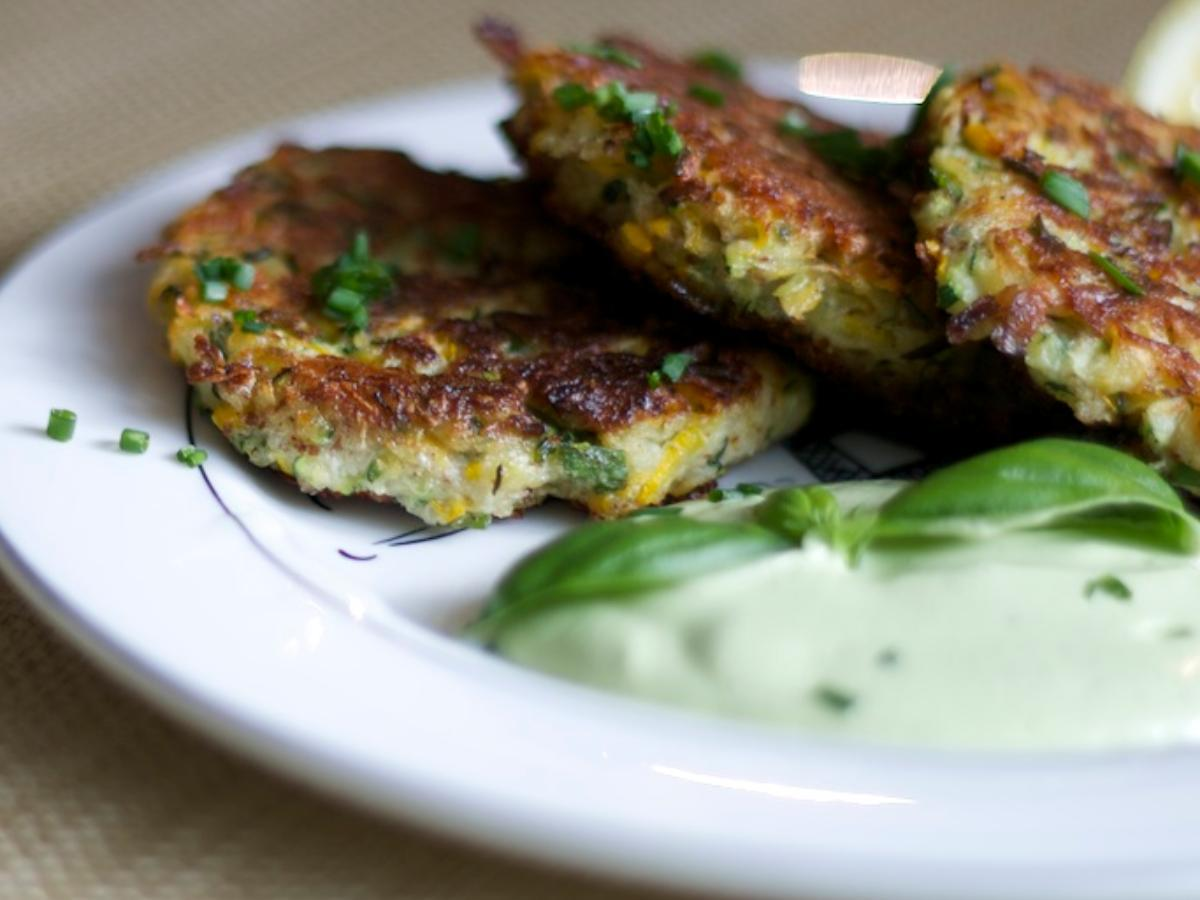 Gluten-Free Zucchini Fritters with Lemon Basil Cashew Cream Healthy Recipe