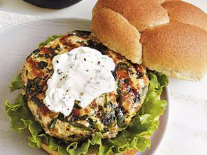 Goat Cheese and Spinach Turkey Burgers Healthy Recipe