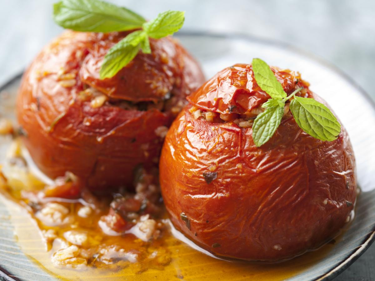 Greek Stuffed Tomatoes with Rice Healthy Recipe