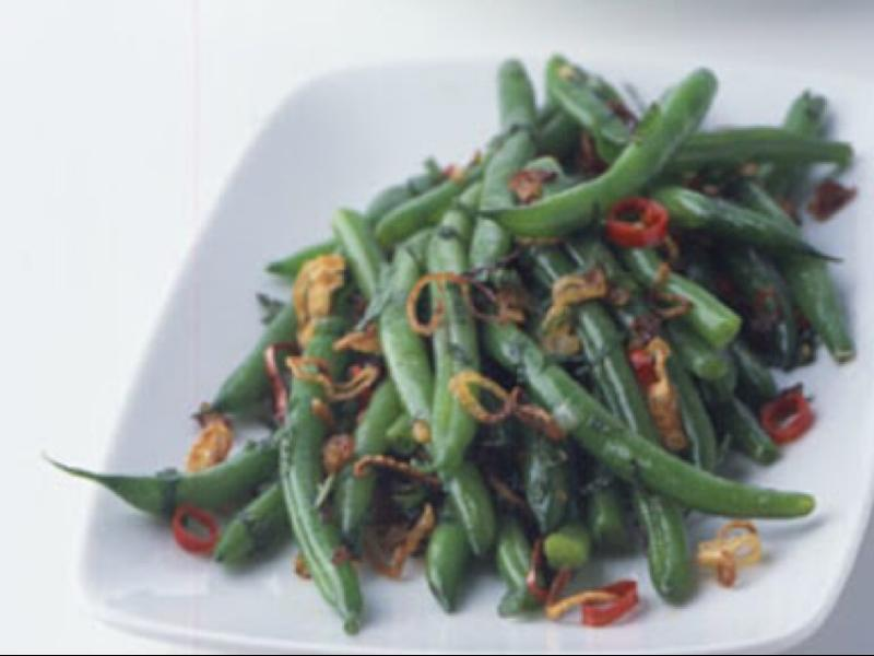 Green Beans with Crisp Shallots, Chile, and Mint Healthy Recipe