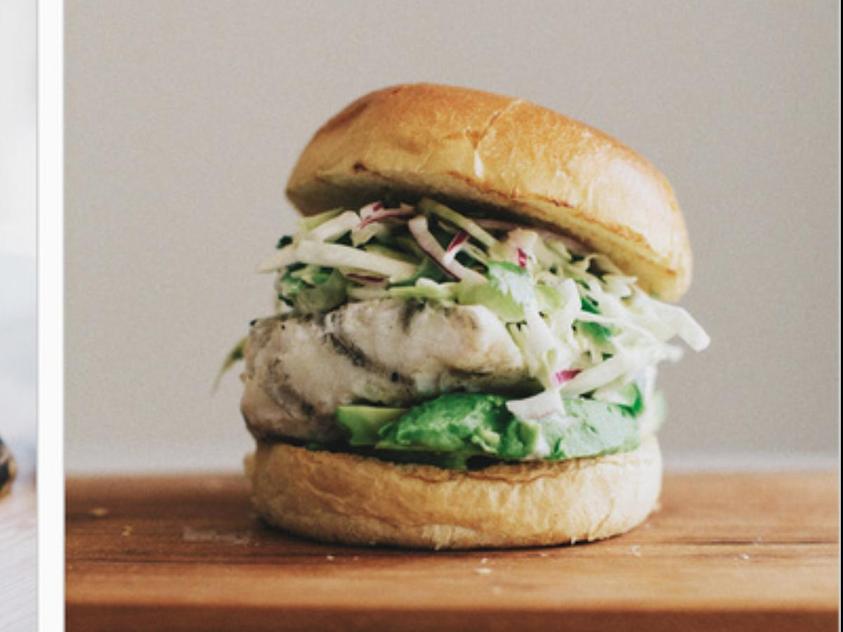 Grilled Halibut Sandwiches with Jalapeño Slaw Healthy Recipe