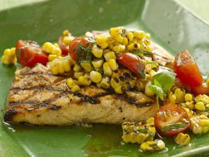 Grilled Salmon with Corn and Tomatoes Healthy Recipe
