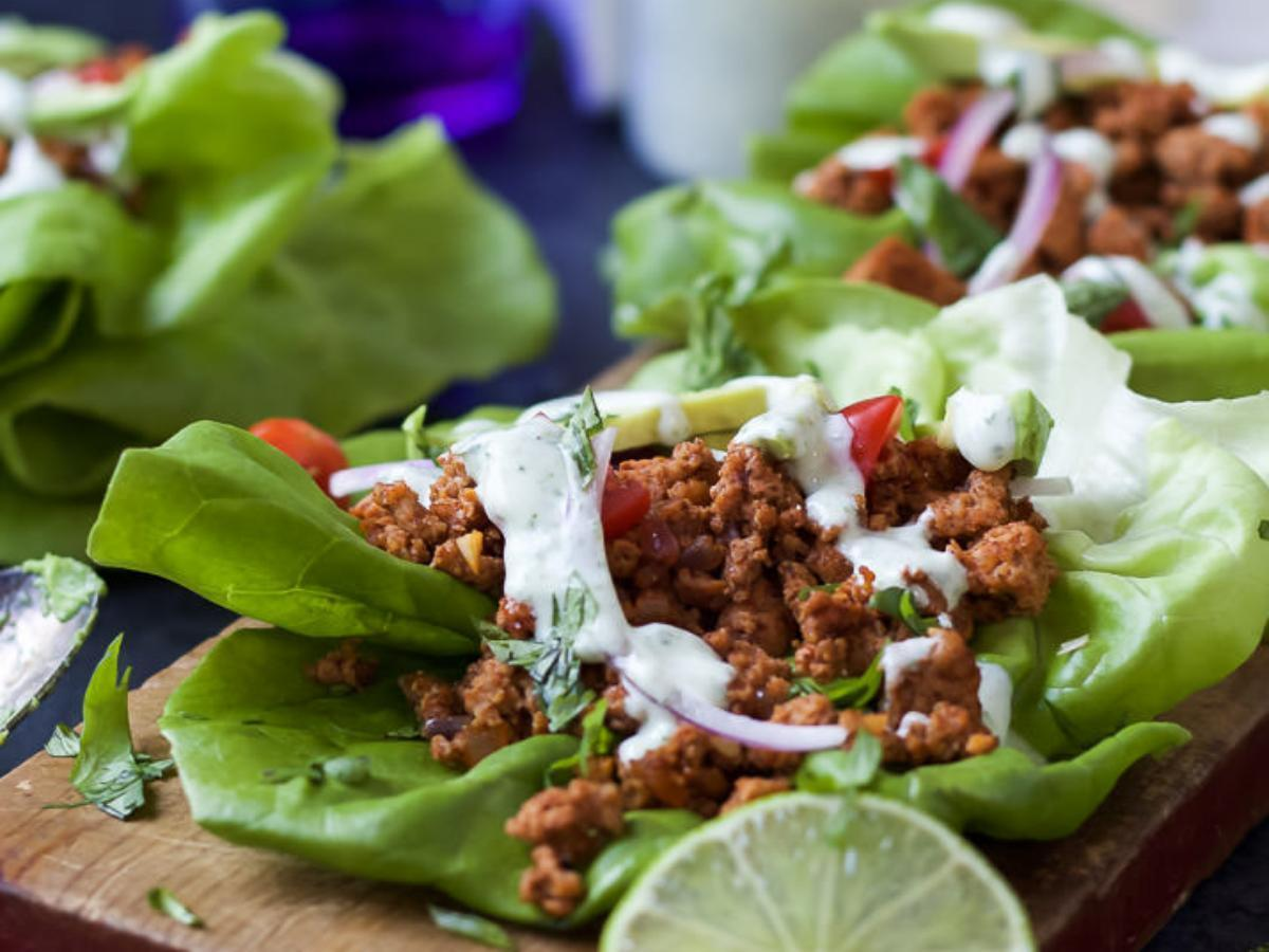 Ground Turkey Tacos in Lettuce Wraps with Cilantro Lime Crema Healthy Recipe