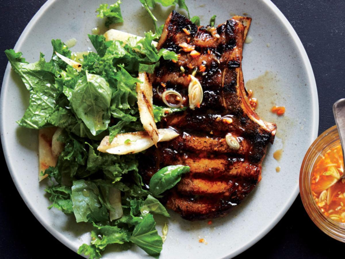 Habanero-Marinated Pork Chops with Mustard Greens Slaw Healthy Recipe