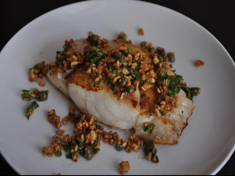 Hake with Hazelnuts and Capers Healthy Recipe