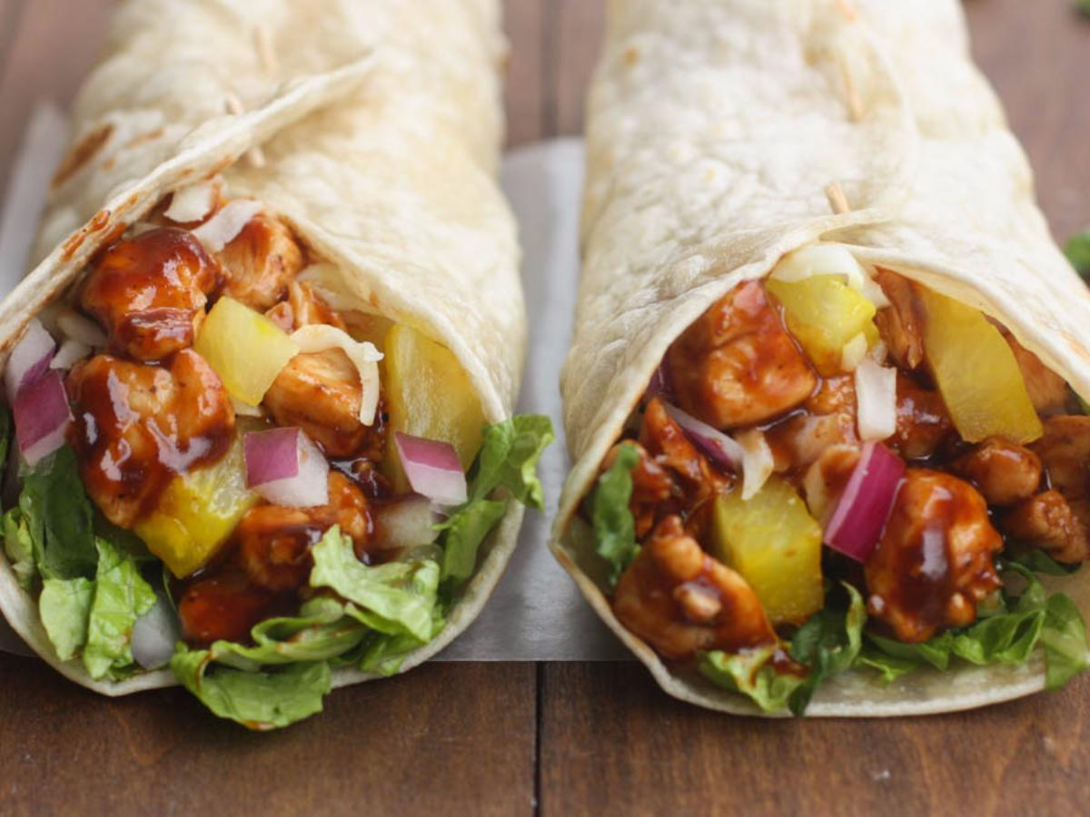 Hawaiian BBQ Chicken Wraps Healthy Recipe