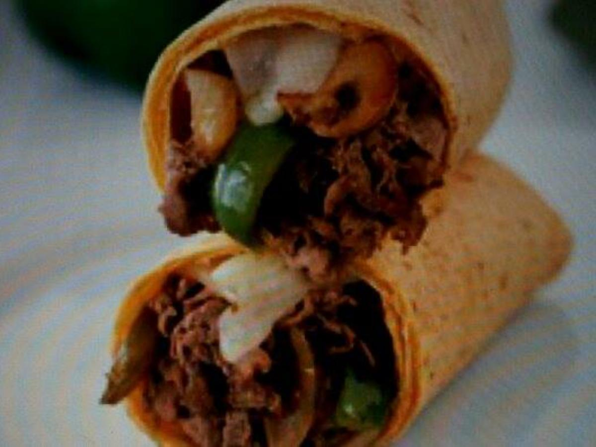 """Hummus """"Philly Cheese"""" Wrap Healthy Recipe"""