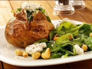 Jacket potato with Spinach and Cottage Cheese Healthy Recipe