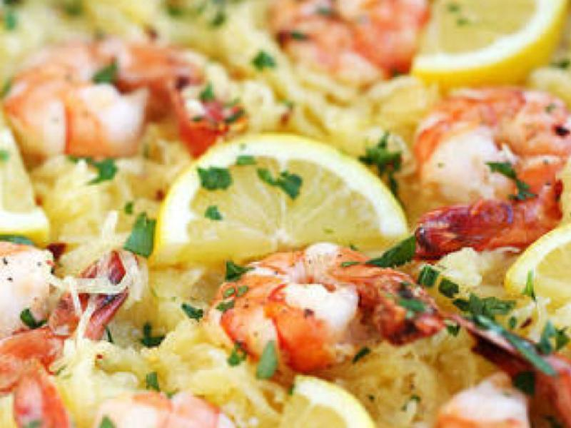 Lemon Spaghetti Squash with Shrimp Healthy Recipe