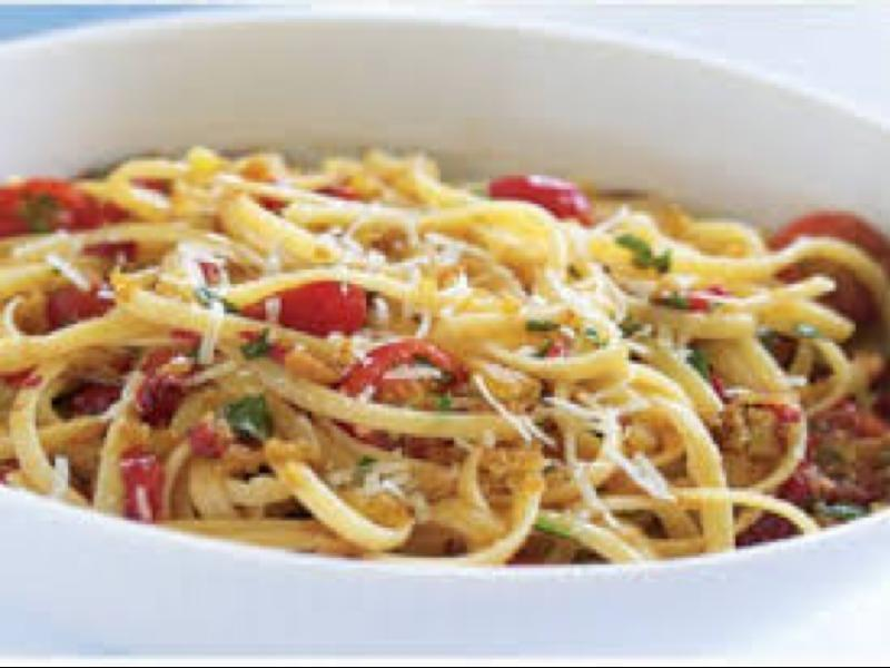 Linguine with Pancetta and Sauteed Cherry Tomatoes Healthy Recipe