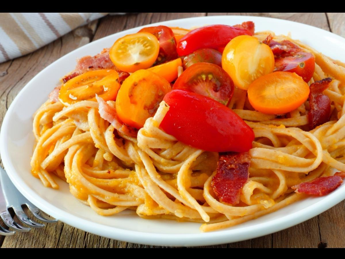 Linguine with Red, Yellow, and Orange Tomatoes Healthy Recipe