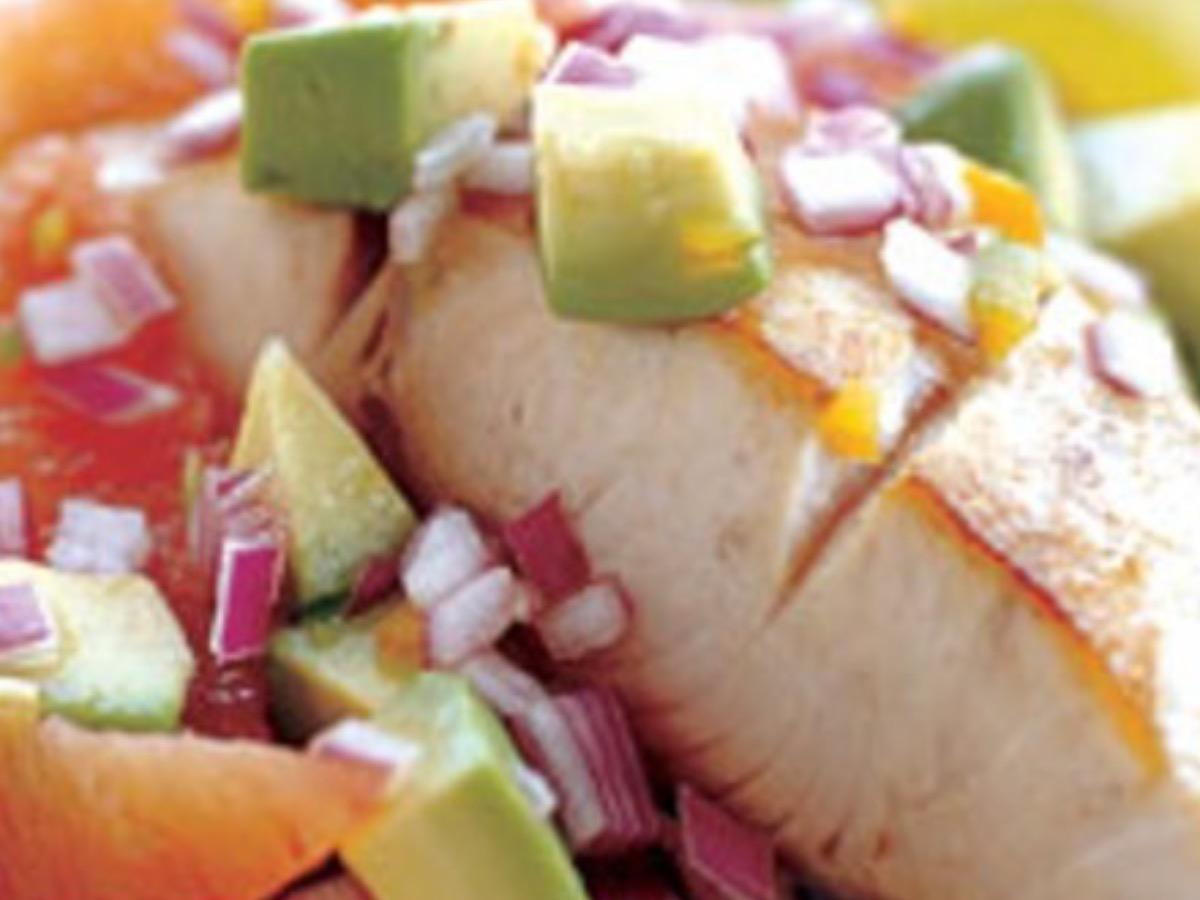 Mahi-Mahi with Blood Orange, Avocado, and Red Onion Salsa Healthy Recipe