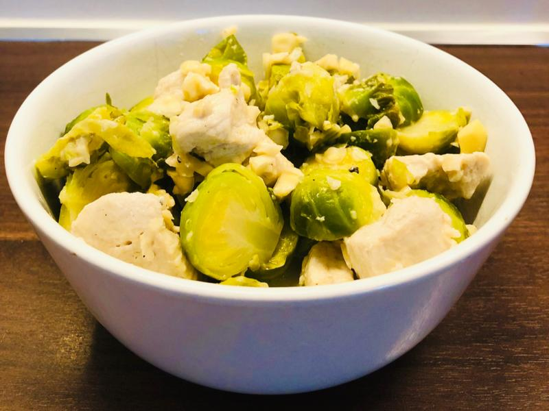 Microwave Parmesan Lemon Chicken and Brussels Sprouts Healthy Recipe