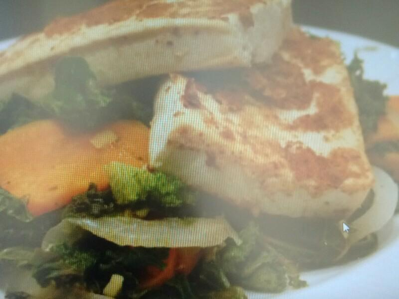 Mustard-Crusted Tofu with Kale and Sweet Potato Healthy Recipe